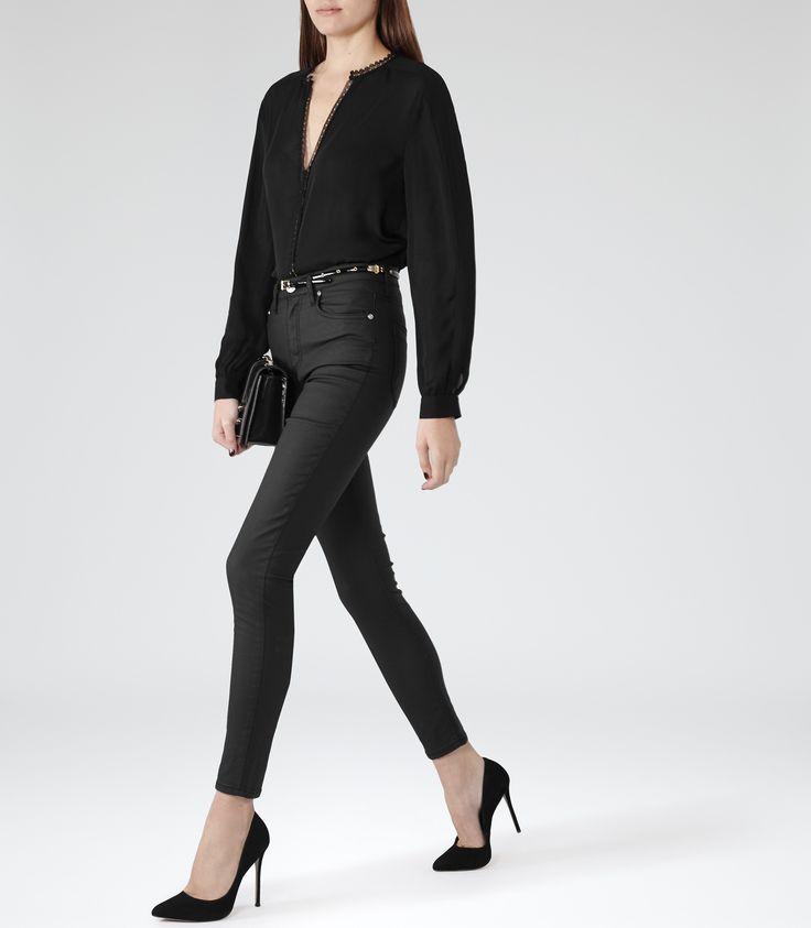 Womens Black High-rise Skinny Jeans - Reiss Helvin Coated