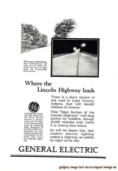 indiana lighting hours. 1926 general electric vintage print ad ge lincoln highway lighting indiana hours