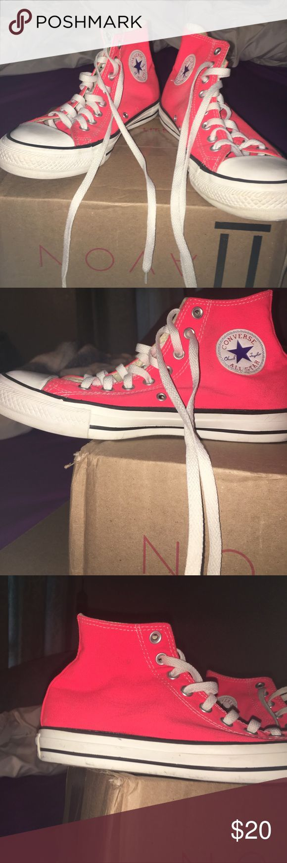 Hot pink high top converse These are hot pink high top converse, these have been worn as you can tell. Converse Shoes Sneakers
