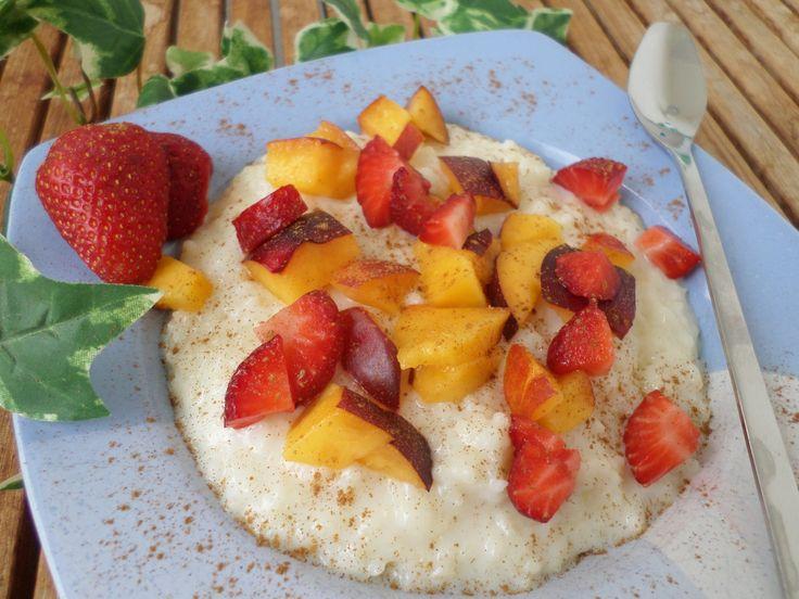 Rice pudding with fruit (strawberry and peach   |   Früchtemilchreis (mit Erdbeeren und Pfirsichstückchen) Früchtemilchreis (Erdbeeren/Pfirsiche)