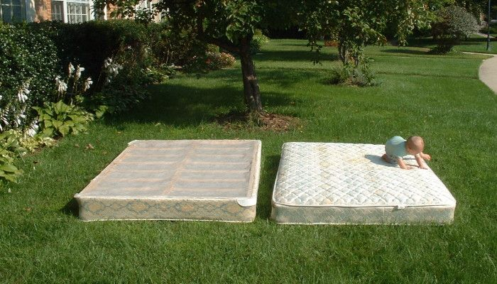 Taking apart an old mattress and box spring on my front lawn