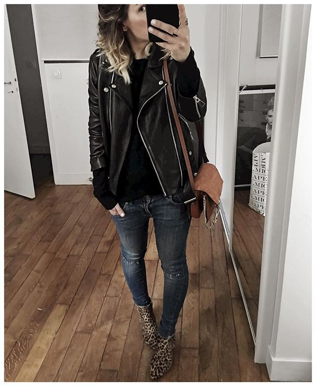 Tenue d'hier en entier! • Perfecto #aninebing (from @aninebing) • Pull… Plus