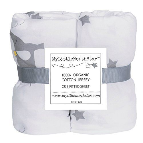 100% Organic Jersey Cotton Fitted Crib Sheets Unisex - 2 pack - GOTS certified - fits Standard Crib and Toddler Mattresses 52x28x9'' - best baby shower gift - by My Little North Star by My Little North Star, http://www.amazon.com/dp/B01FWHA1ZE/ref=cm_sw_r_pi_dp_wA.szbEY74ECG
