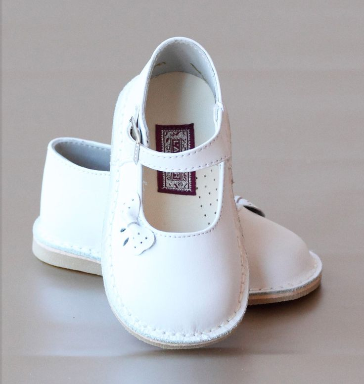 L'Amour Girls White Leather Perforated Bow Mary Jane