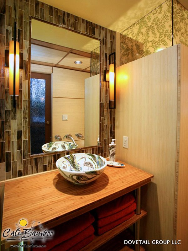 Custom bathroom sink built with Cali Bamboo
