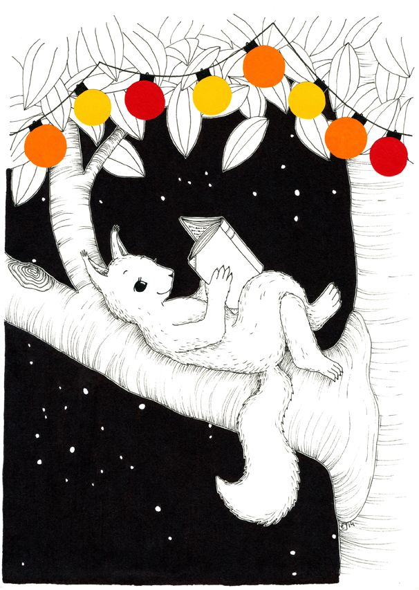 Valot 2. Mantelinan A4-printti. Alkuperäinen kuva: Elina Jasu / Lights 2. Art print made by Elina Jasu for Mantelina