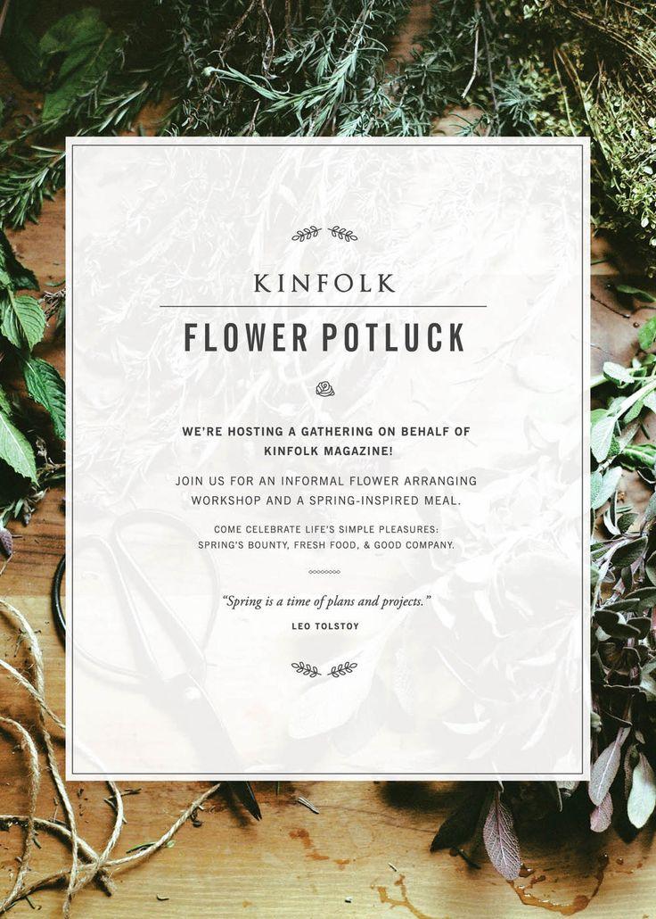 Kinfolk Flower Potluck | by Print In Cursive