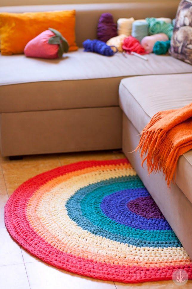 Patrón de alfombra de ganchillo XXL con forma de Arcoiris (mitad de un círculo)