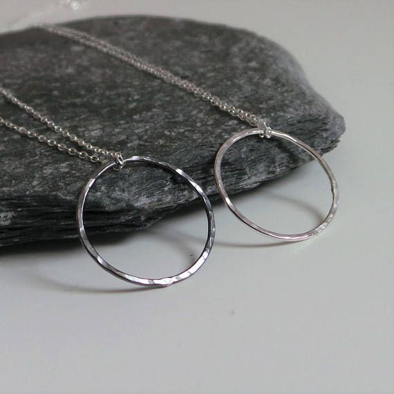 Rustic Circle Necklace  Sterling Silver Black or Silver