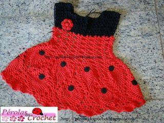 * Pearls Crochet: Vestidinho of crochet - Ladybug Filomena