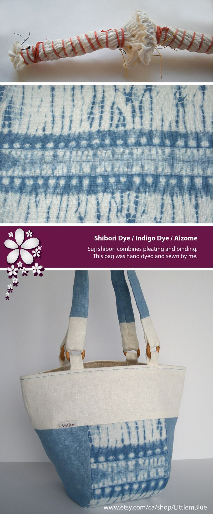 Bohemian chic - Indigo dye: Suji shibori combines pleating and binding. This bag was hand dyed and sewn by me. (Little m Blue)