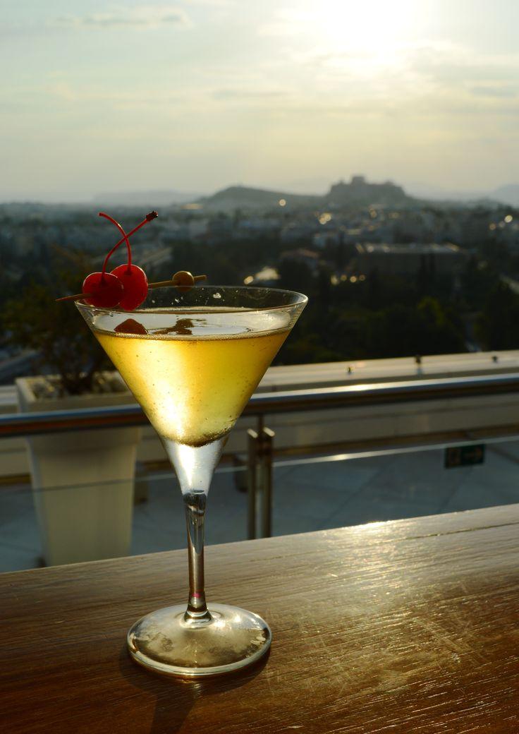 """""""Jasper"""" October Cocktail Sourz liqueur, Champagne, Martell VS, Crème de cassis"""