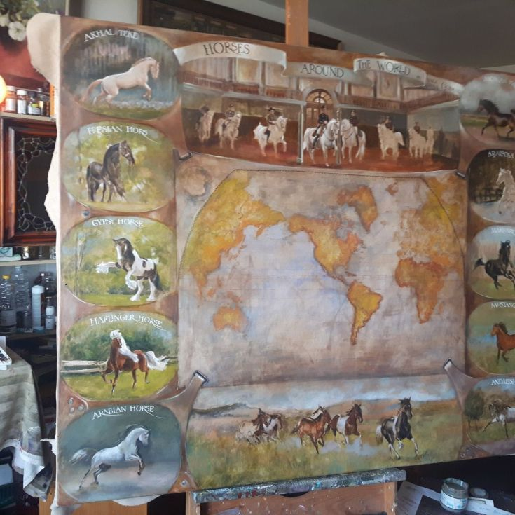 Buy Horses around the world large size 160/130cm map on leatheder, Mixed Media painting by Vali Irina Ciobanu on Artfinder. Discover thousands of other original paintings, prints, sculptures and photography from independent artists.