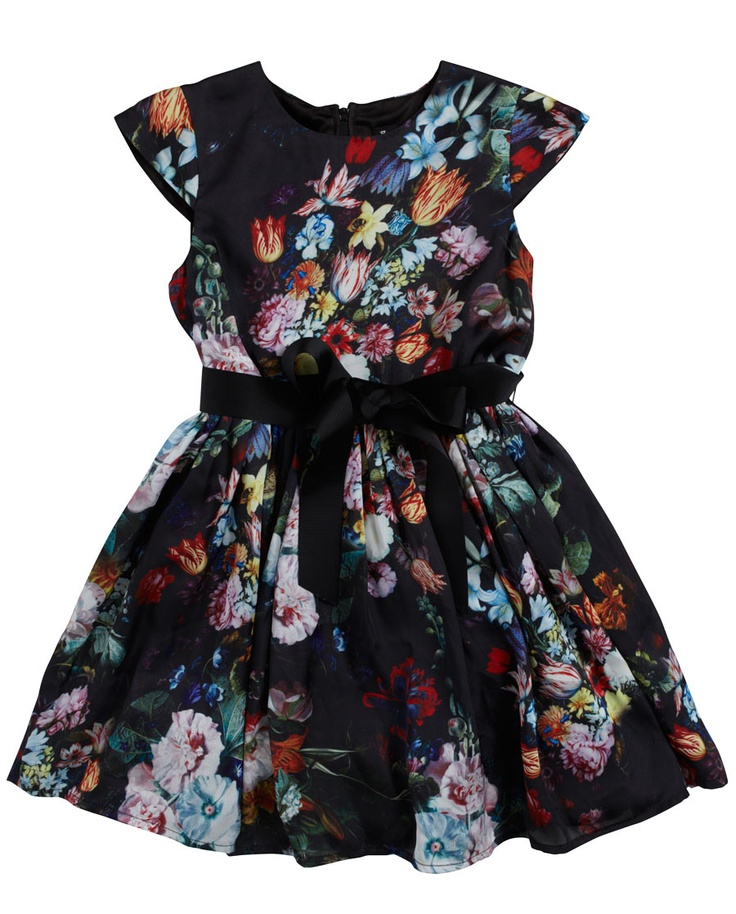 Little Girl`s Floral Dress - Bardot Junior