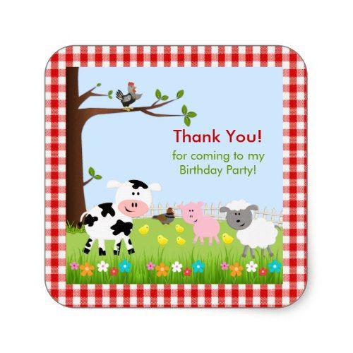 Cute Farm Animals Birthday Party Sticker | Zazzle com | Animal