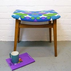 Mid century stool in Arno Thoner fabric from vintageactually.co.uk Award winning vintage homestore