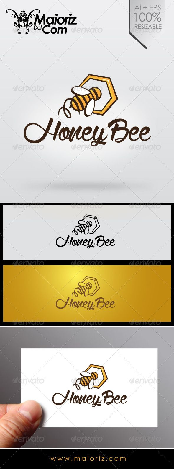Honey Bee Logo — Transparent PNG #honey #logo • Available here → graphicri...