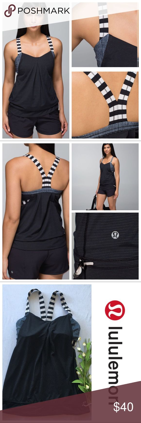 Lululemon Rest Less Tank Black Burlap Size 6 Lululemon Rest Less Tank Size 6 Black / Burlap Texture Black Dune /Apex Stripe Black Dune lightweight tank, sweat-wicking fabrics & a breezy fit to help us keep our cool in the gym. The medium-support, medium-coverage bra keeps our ladies secure and the drawcord at the waistband helps keep our top in place  4-way stretch Luxtreme bra is sweat-wicking & breathable lightweight and breathable fabric body wicks sweat away from your skin  designed with…
