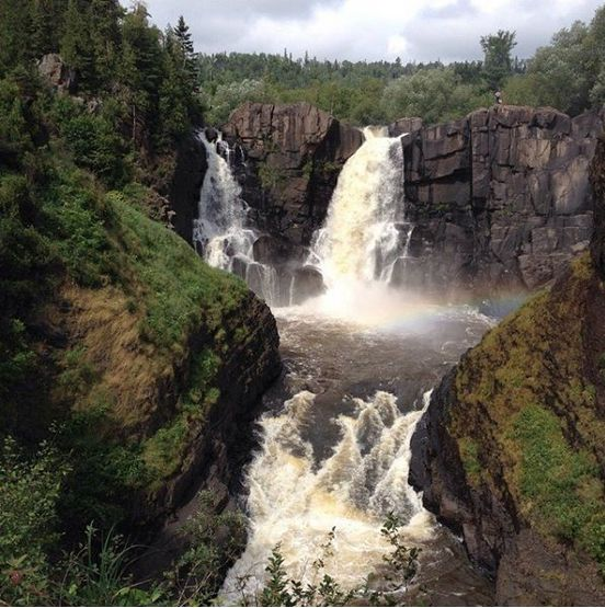 this is minnesota torrents of wild water plummet 120 feet over the high falls down to the pigeon river in this park on the us canadian border