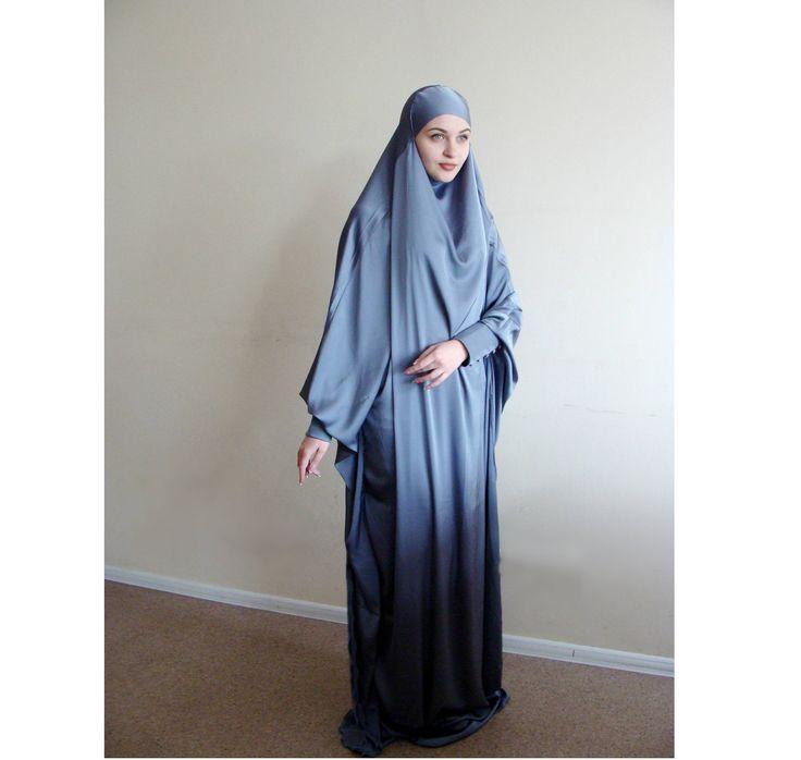 Elegant Silk Khimar, muslim dress, Gray Burqa,Dubai Abaya, traditional hijab,long hijab, Long burqa,Islamic Niqab, Maxi dress, Hijabi by ScarfTurbanHijab on Etsy