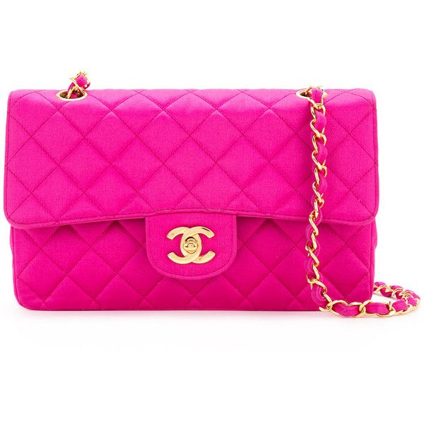 Chanel Vintage quilted shoulder bag ❤ liked on Polyvore featuring bags, handbags, shoulder bags, pink purse, shoulder handbags, quilted purses, pink quilted purse and quilted shoulder bags