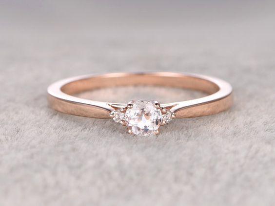 3 Steine Morganit Engagement ring Rose gold, Diamond Wedding Band, 14k, 5mm rund…