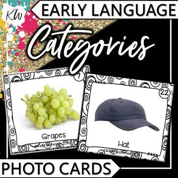 These Categories flashcards using real pictures are perfect for speech therapy, autism, special education, ESL / ELL programs, Early Intervention programs, Head Start, and preschool & elementary classrooms! There are 5 photo cards for