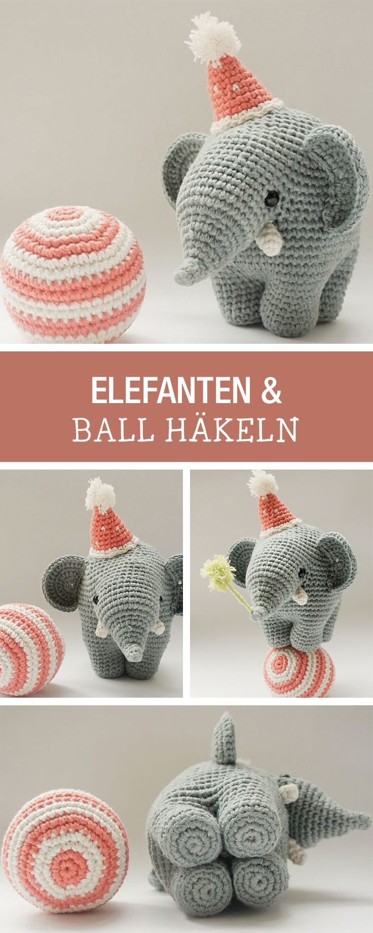 DIY-Anleitung: kleinen Partyelefanten häkeln, Zirkuselefant mit Ball und Hut / DIY tutorial: crocheting smal party elephant, circus elephant with ball and hat via DaWanda.com