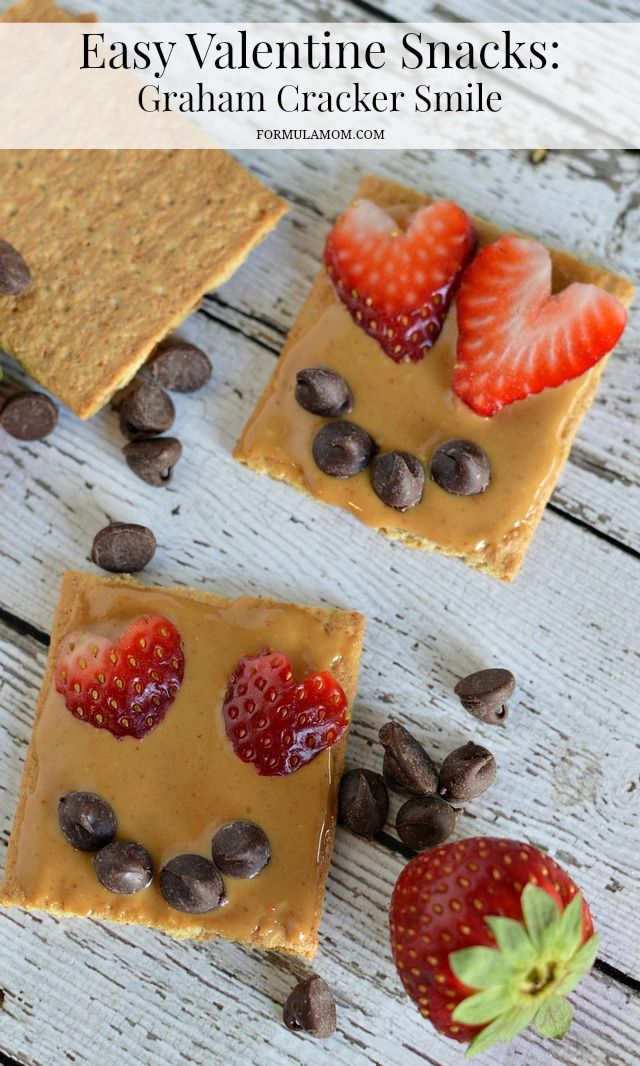 Easy Valentine Snacks: Graham Cracker Smile for Valentine's Day