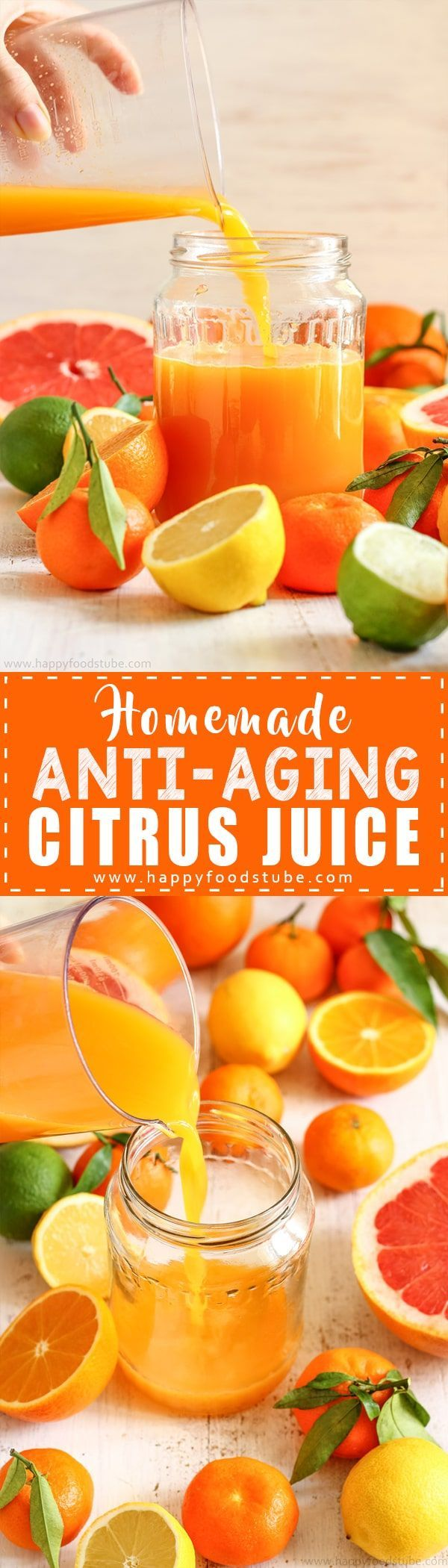 Reduce wrinkles with this Homemade Anti-Aging Citrus Juice Recipe. Vitamin C rich juice helps reduce aging signs and maintain healthy skin via @happyfoodstube
