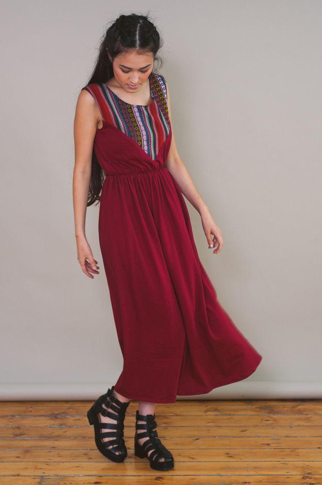 RED JERSEY MIDI DRESS | Loela