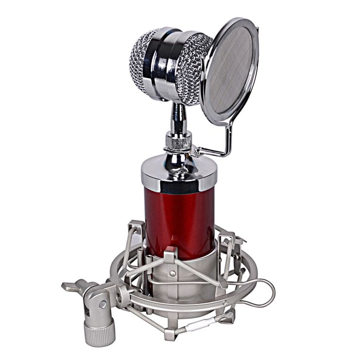 ==> [Free Shipping] Buy Best Red BM-8000 Sound Studio Recording Condenser Wired Microphone With 3.5mm Plug Stand Holder Pop Filter for KTV Karaoke Online with LOWEST Price | 32751851275