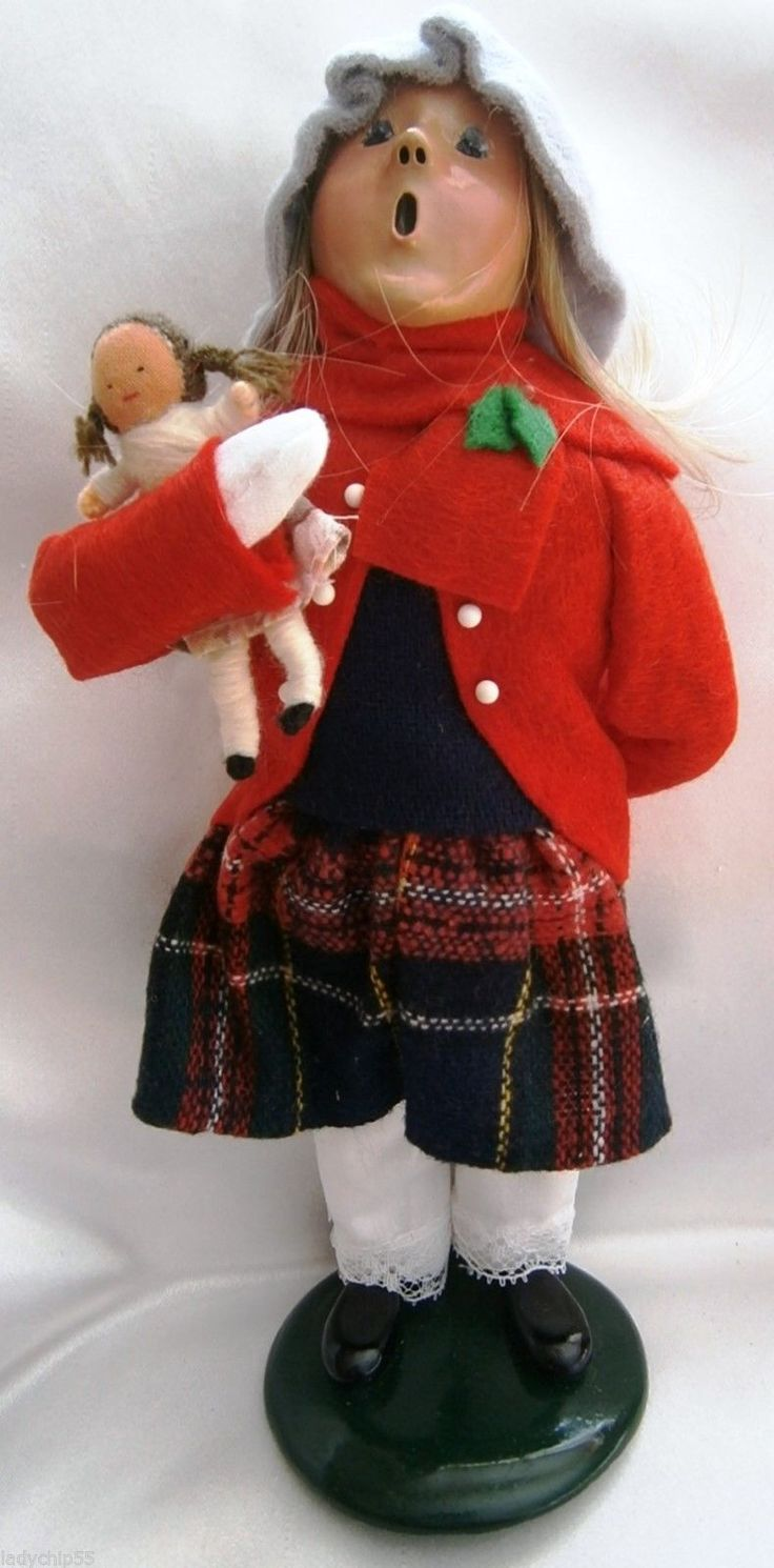 Christmas carolers figurines for sale - Byers Choice Caroler 1995 Traditional Girl With Doll Signed
