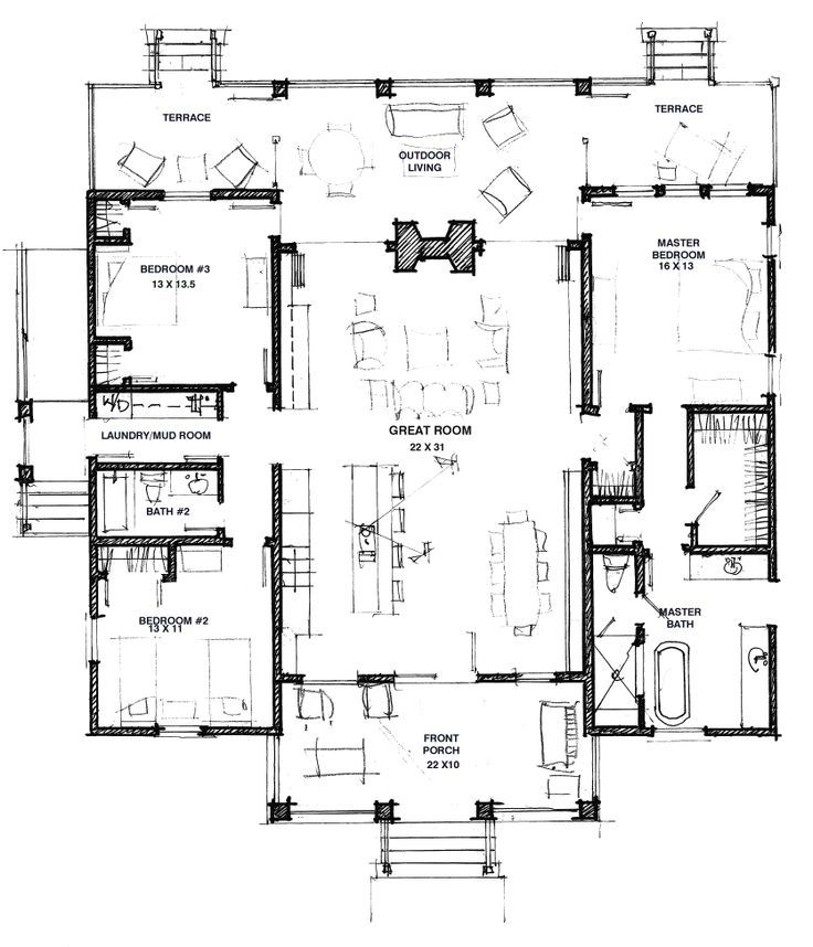 great floor plan modern dog trot flip flop kitchen and living for millbrook farm