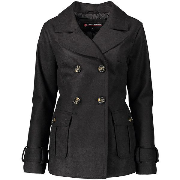 Urban Republic Black Two-Pocket Peacoat ($27) ❤ liked on Polyvore featuring outerwear, coats, double breasted pea coat, pleated coat, double breasted long coat, lined pea coat and fur-lined coats