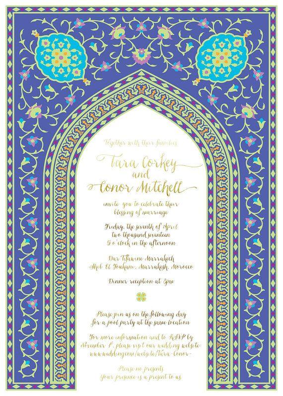 Moroccan Wedding Invitations Bohemian Morocco