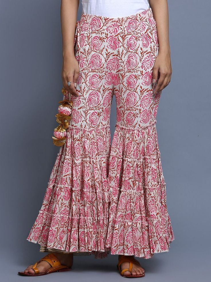 Pink Hand Block Printed Cotton Sharara