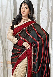 Keep the interest with this designer embroidery saree. This black and cream chiffon and viscose saree have beautiful embroidery patch work which is embellished with resham, zari, sequins, stone and lace work. Fabulous designed embroidery gives you an ethnic look and increasing your beauty. Matching cream viscose blouse is available. Slight Color variations are possible due to differing screen and photograph resolutions.