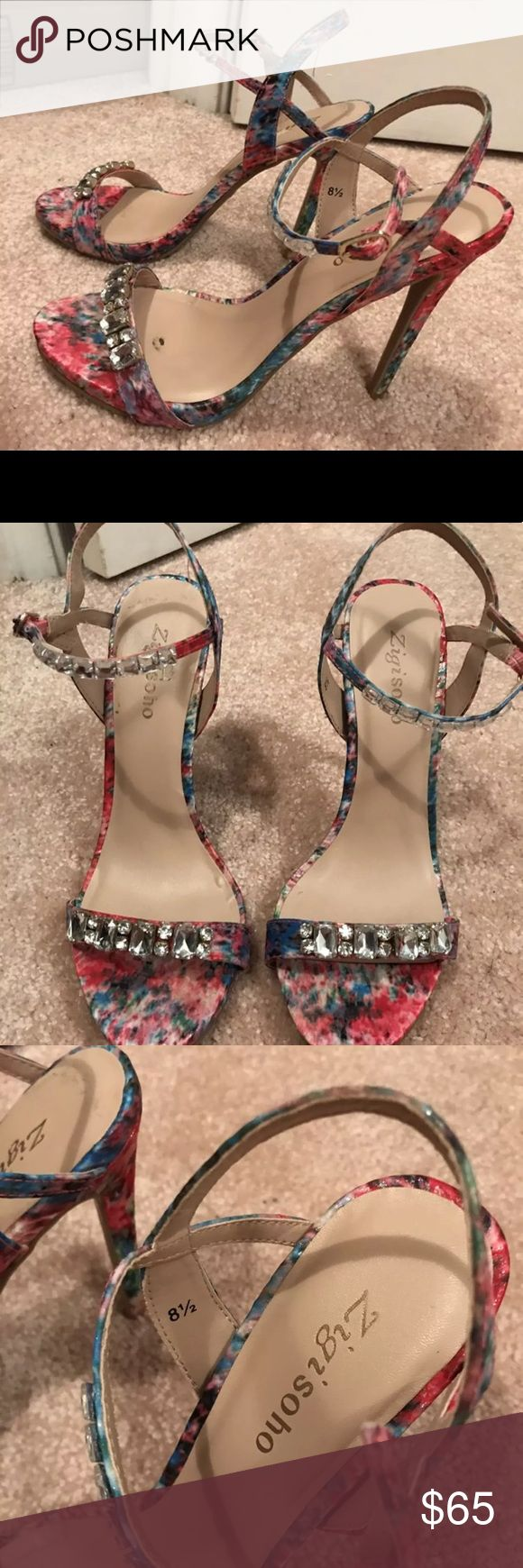 Zigisoho floral strappy heels I love these shoes but I hardly wear them and need the space. I've only worn them two times for about fifteen minutes each. Awesome condition. Zigi Soho Shoes Heels