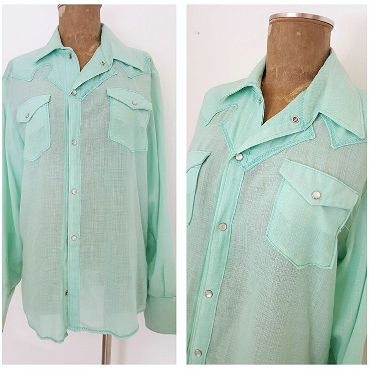 Vintage 70s Pearl Snap Western Shirt Size Large Green Thin Cowboy Rockabilly Men #Unknown #Western