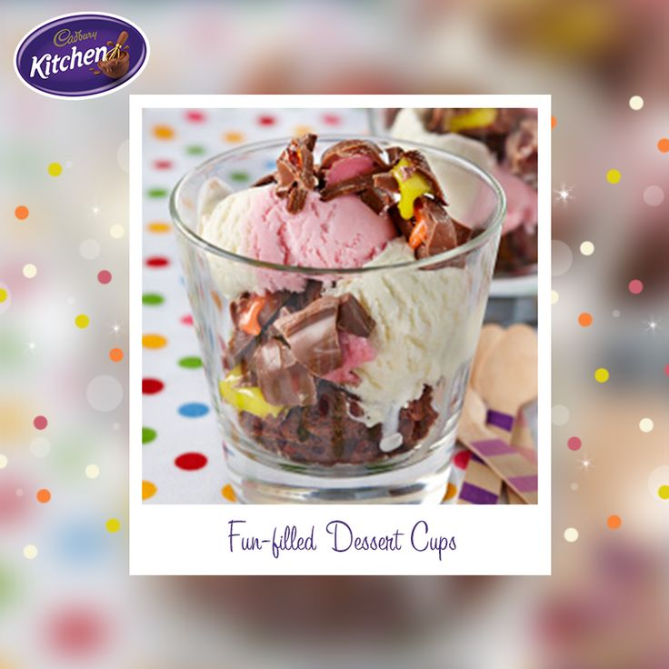 Get the kids in the kitchen this weekend to help chop up some chocolate biscuits to give your dessert cup that extra delicious crunch!  #CADBURY #icecream #dessertcup #dessertideas #chocolate #baking #snack
