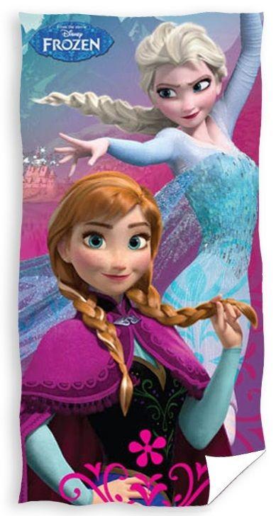 Ręczniki dla dzieci w kolorze różowo niebieskim z Anną i Elsą