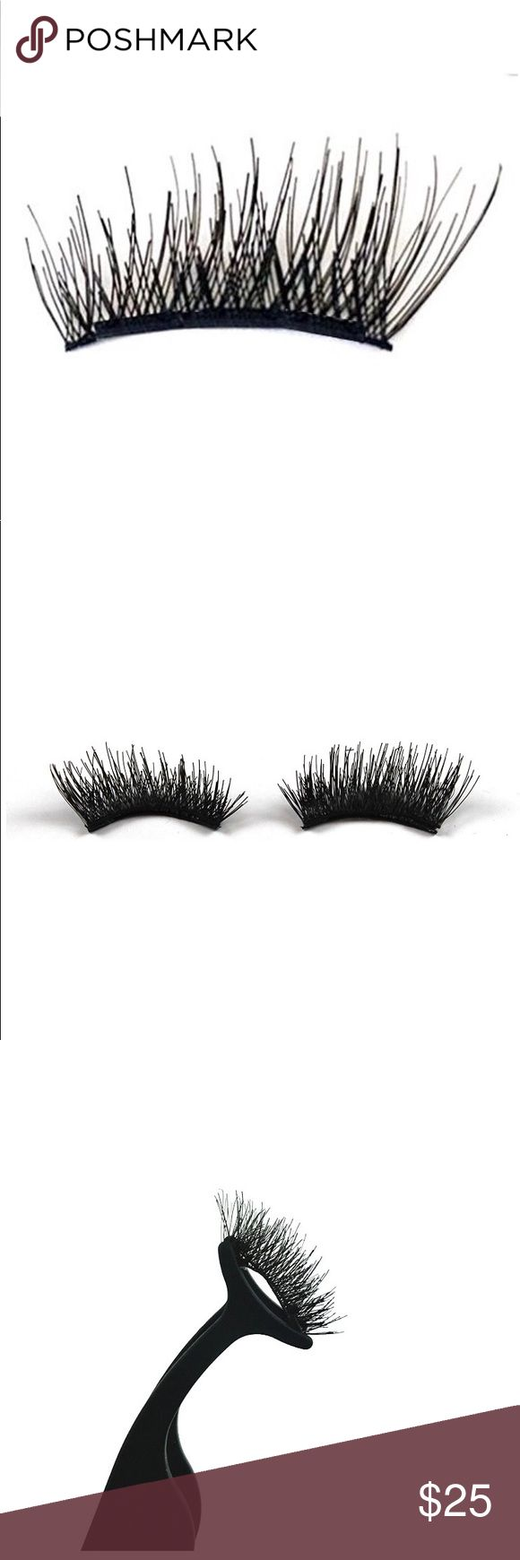 """Double Magnetic Eyelashes 3D Reusable, 4 Pieces High-quality, magnetic eyelashes with double magnets on each corner for maximum coverage and grip. Pkg includes: 1 Pair, 4 pcs – 0.75"""" inch long for small/standard-sized eyes. Comes with 2 front pcs, 2 back pcs that stick to each other around your natural lash creating a 3D look for a fuller lash. Easy to use, apply with magnetic tweezers (sold separately) or fingertips – no glue required. Lashes are reusable up to 30 times. Natural length…"""