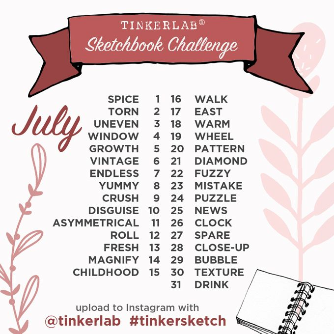 Join the free July Sketchbook Challenge on Instagram. We have a brand spanking new spread of TinkerSketch drawing prompts to make this extra fun.