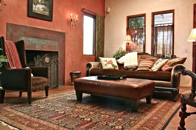 Farmhouse Living Room Brown Couch
