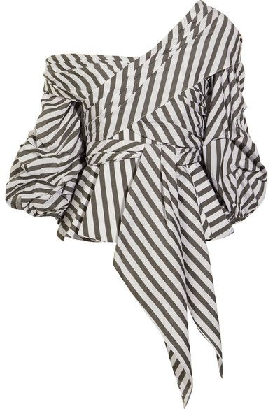 Johanna Ortiz | Santa Rosa one-shoulder striped cotton-blend poplin top | NET-A-PORTER.COM