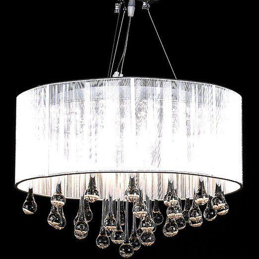 Lampadario moderno vetro con paralume, lampada a sospensione