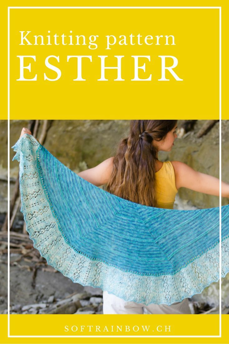 Esther Shawl knitting pattern from the Soft Rainbow Designs. - Crescent shape shawl with stripes and lace. Click and download your copy!