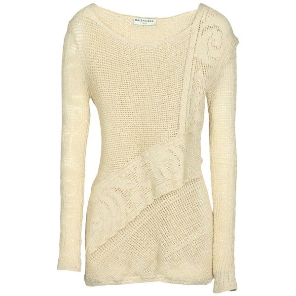 Balenciaga Jumper (1.760 BRL) ❤ liked on Polyvore featuring tops, sweaters, beige, long sleeve tops, beige long sleeve top, linen jumper, linen sweater and long sleeve jumper