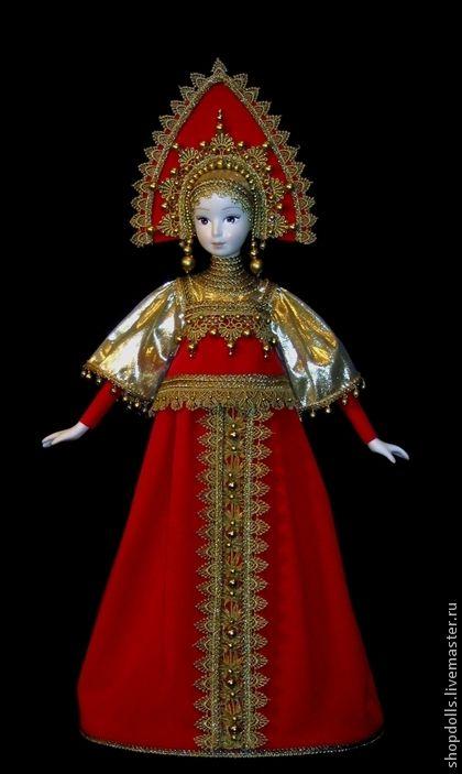 Кукла Московская боярыня в кокошнике - ярко-красный,красно-золотой,боярыня